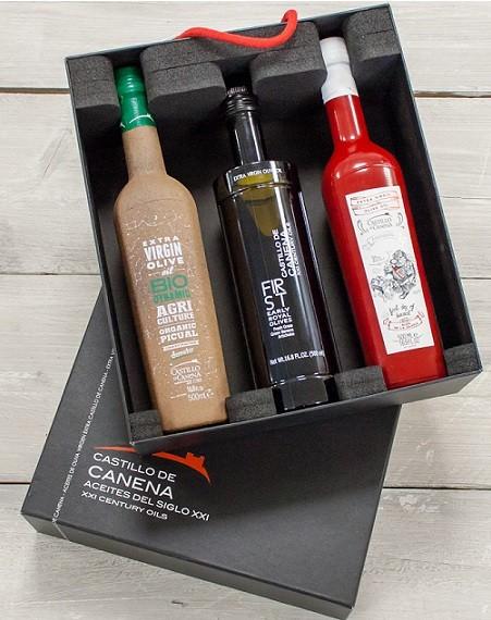 "Geschenkpakket ""CAJA NEGRA dos"" Olijfolie Picual + Early Royal BIO/DEMETER 3 fles 500ml. Castillo de Canena"