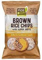 Bruine rijst chips Gierst & Zonnebloem BIO zak 60gr. Rice UP