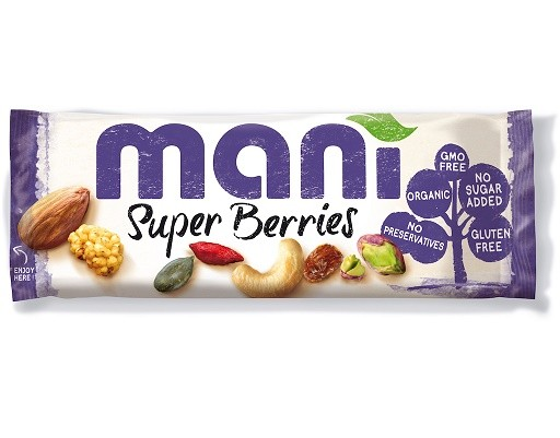 Mani Super Berries noten/vruchtenmix BIO 45 gr./ tht 23 nov 2018