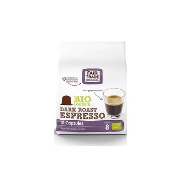 Indian koffie capsules espresso dark BIO zak 10st. Fairtrade