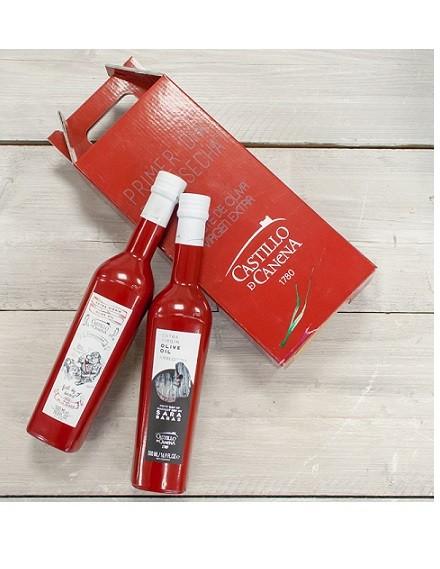 Geschenkpakket Olijfolie Picual & Arbequina eerste dag van oogsten BIO 2 fles 500ml. Castillo de Canena