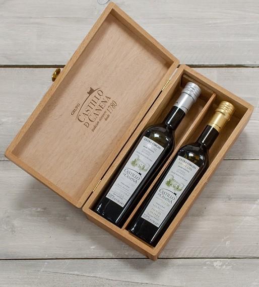Geschenkpakket Castillo de Canena olijfolie Family Reserve BIO Picual/Arbequina kist eiken 2 vaks