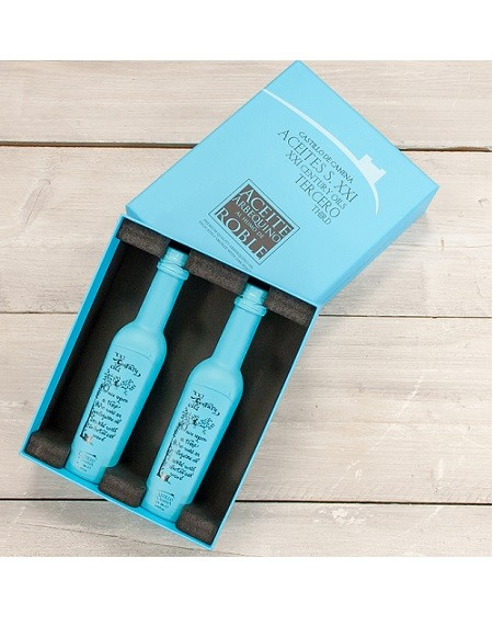 Castillo de Canena geschenkpakket 2 fles Arbequina extra vierge olijfolie met oak smoke