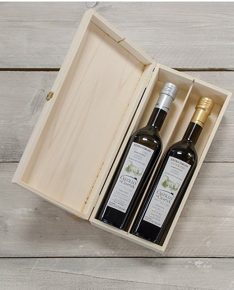 Geschenkpakket Olijfolie Picual & Arbequina Family Reserve BIO kist grenen 2 fles 500ml. Castillo de Canena