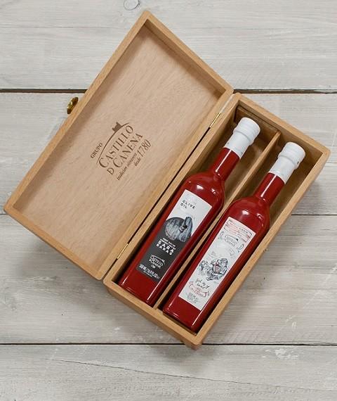 Geschenkpakket Olijfolie Picual & Arbequina eerste oogst BIO kist eiken 2 fles 500ml. Castillo de Canena