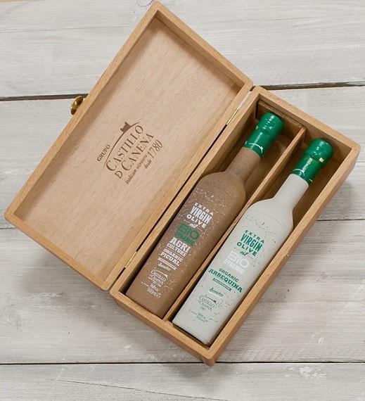 Geschenkpakket Olijfolie DEMETER kist eiken 2 fles 500ml. Castillo de Canena