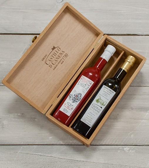 "Geschenkpakket "" Culinario Un"" Olijfolie Picual BIO kist eiken 2 fles 500ml. Castillo de Canena"