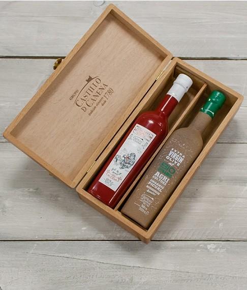"Geschenkpakket ""Culinario Dos"" Olijfolie Picual BIO/DEMETER kist eiken 2 fles 500ml. Castillo de Canena"