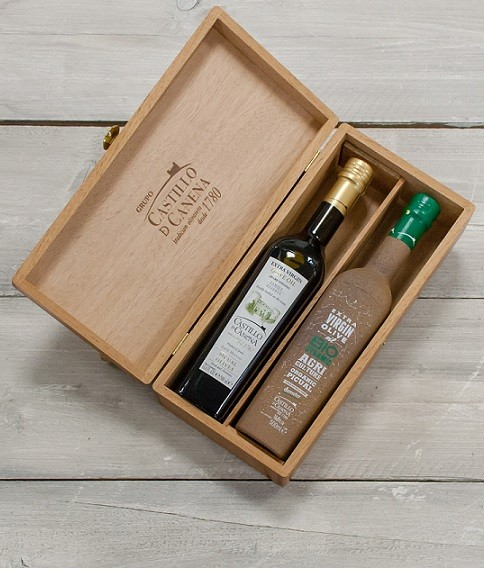 "Geschenkpakket ""Culinario Tres"" Olijfolie Picual BIO/DEMETER kist eiken 2 fles 500ml. Castillo de Canena"