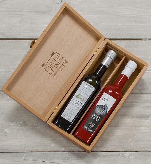 "Geschenkpakket ""Culinario Un"" Olijfolie Arbequina BIO kist eiken 2 fles 500ml. Castillo de Canena"