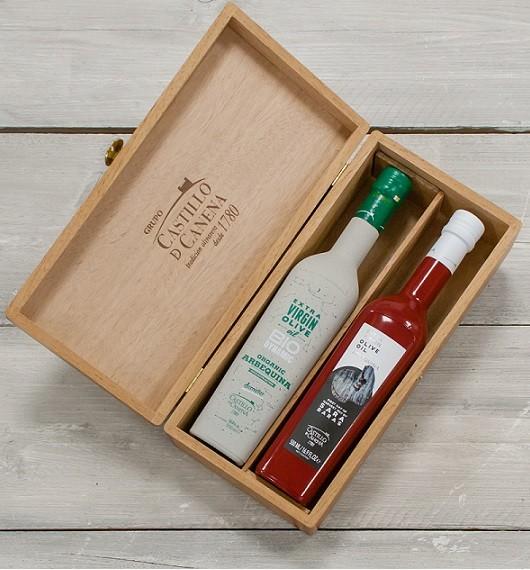 "Geschenkpakket ""Culinario Dos"" Olijfolie Arbequina BIO/DEMETER kist eiken 2 fles 500ml. Castillo de Canena"