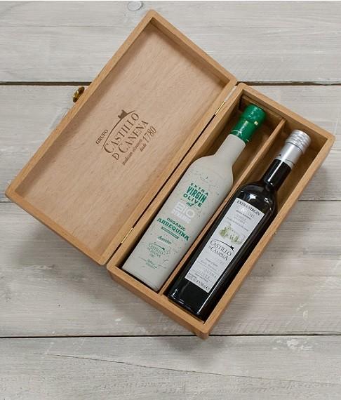 "Geschenkpakket ""Culinario Tres"" Olijfolie Arbequina BIO/DEMETER kist eiken 2 fles 500ml. Castillo de Canena"