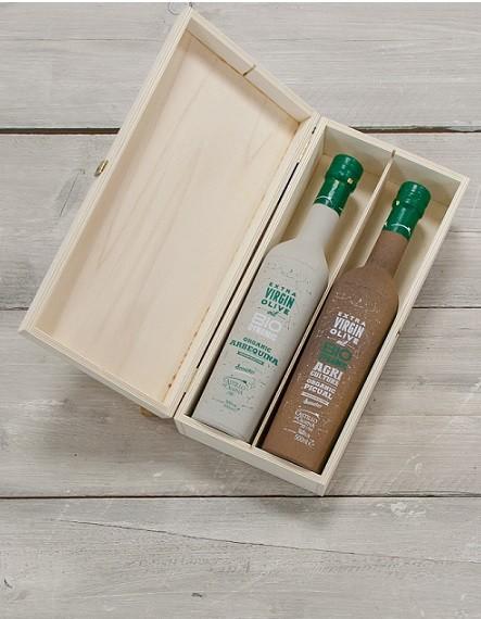 Geschenkpakket Olijfolie Picual & Arbequina DEMETER kist grenen 2 fles 500ml. Castillo de Canena