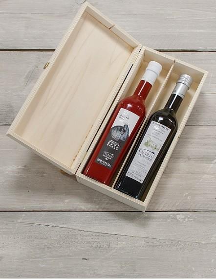 "Geschenkpakket ""Culinario Un"" Olijfolie Arbequina BIO kist grenen 2 fles 500ml. Castillo de Canena"