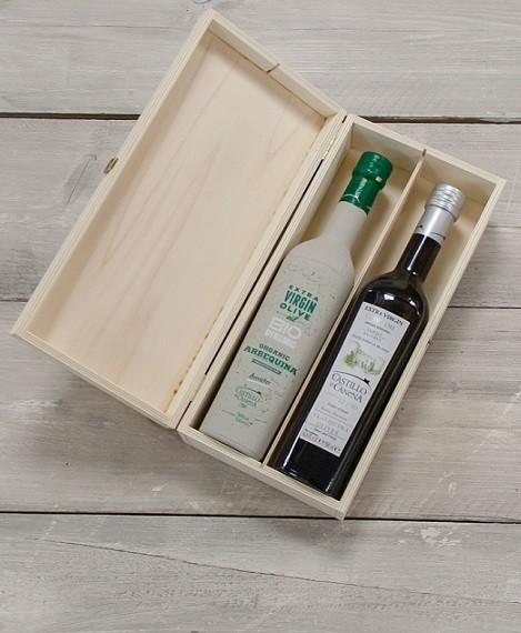 """Geschenkpakket """"Culinario Tres"""" Olijfolie Arbequina BIO/DEMETER kist grenen 2 fles 500ml. Castillo de Canena"""