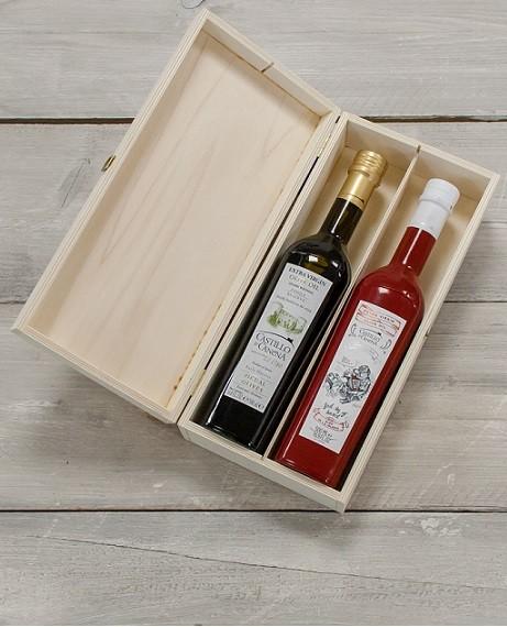 """Geschenkpakket """"Culinario Un"""" Olijfolie Picual BIO kist grenen 2 fles 500ml. Castillo de Canena"""