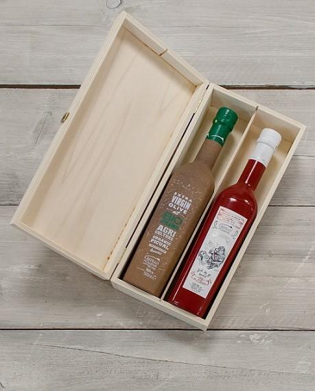 "Geschenkpakket ""Culinario tres"" Olijfolie Picual BIO/DEMETER kist grenen 2 fles 500ml. Castillo de Canena"