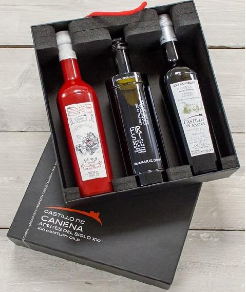 """Geschenkpakket """"CAJA NEGRA Un"""" Olijfolie Arbequina + Early Royal BIO 3 fles 500ml. Castillo de Canena"""
