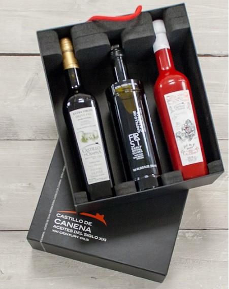 "Geschenkpakket ""CAJA NEGRA un"" Olijfolie Picual + Early Royal BIO 3 fles 500ml. Castillo de Canena"