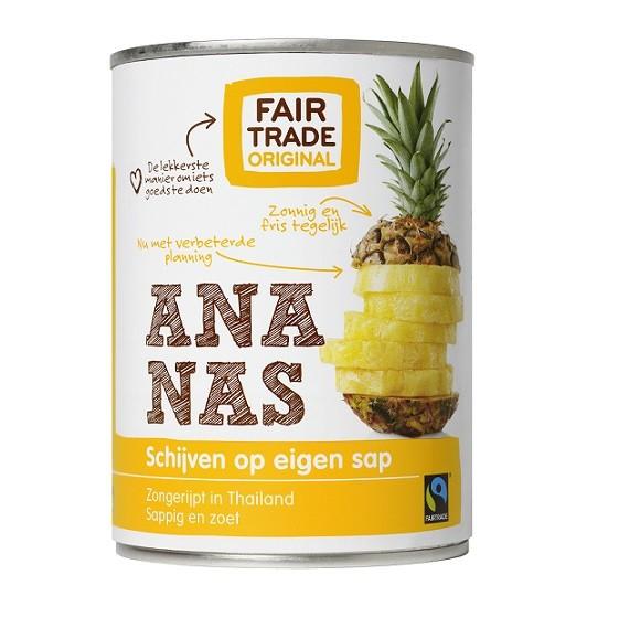 Ananasschijven op sap 560gr. Fairtrade