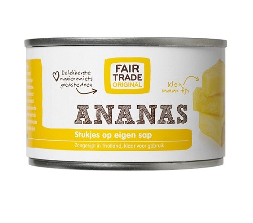Fairtrade ananasstukjes op sap 227 gr