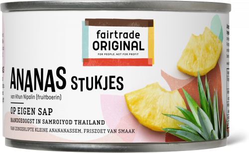 Ananasstukjes op sap 227gr. Fairtrade