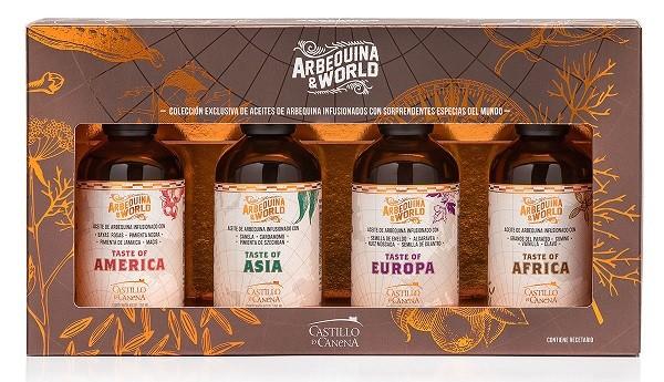 Geschenkpakket Olijfolie Arbequina & World 4x100ml. Castillo de Canena
