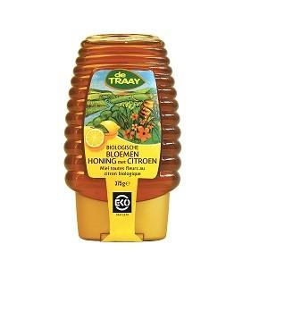 De Traay bloemen honing met citroen fles EKO 375 gr
