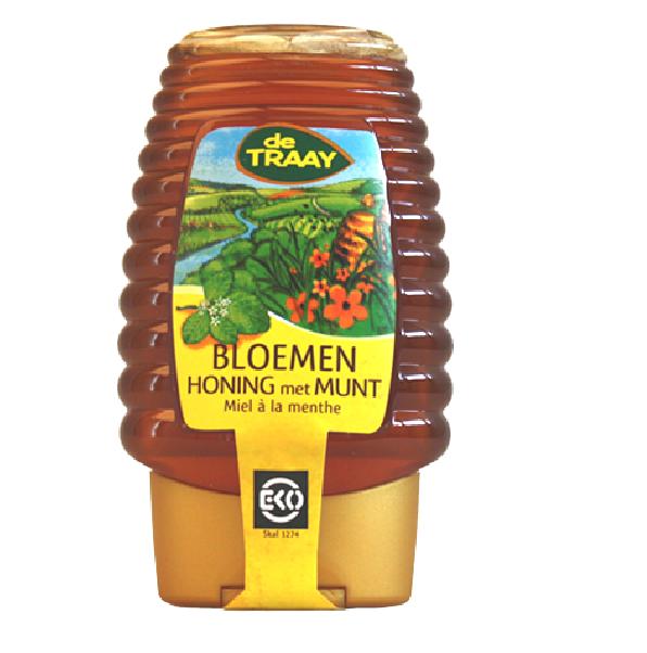 De Traay bloemen honing munt EKO fles 375 gr