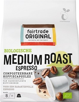 Koffie capsules medium roast BIO Zak 10st. Fairtrade