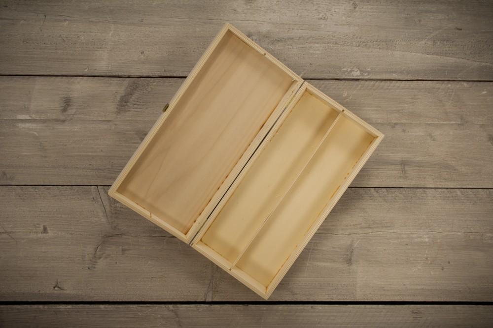 Geschenkpakket kist grenenhout 2 vaks leeg. Castillo de Canena