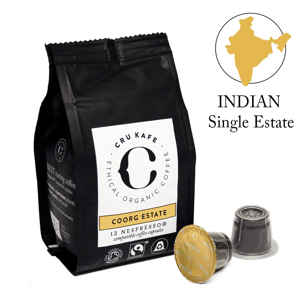 Cru Kafe Indian Coorg Estate koffie 12 cups