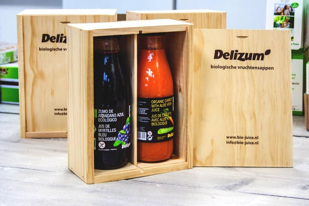 Geschenkpakket kist grenenhout 2 vaks Delizum