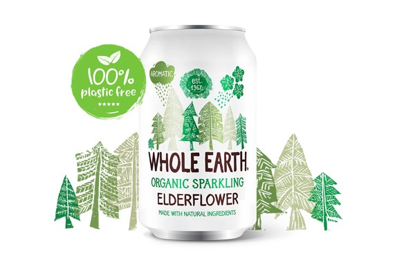 Elderflower frisdrank BIO blik 330ml. Whole Earth