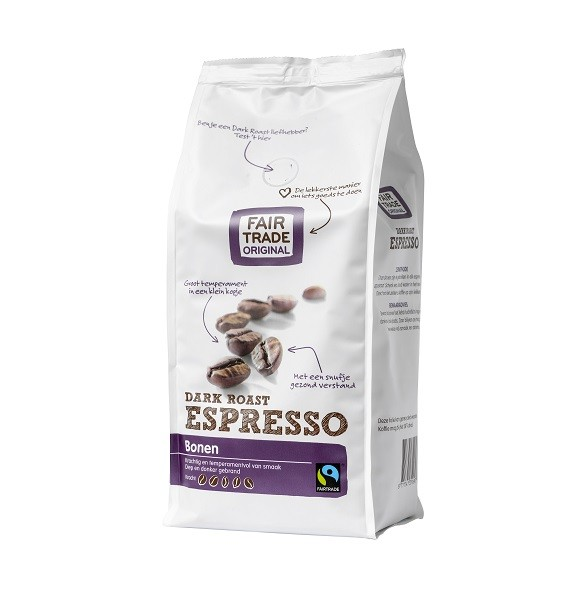 Koffiebonen espresso dark roast 500gr. Fairtrade