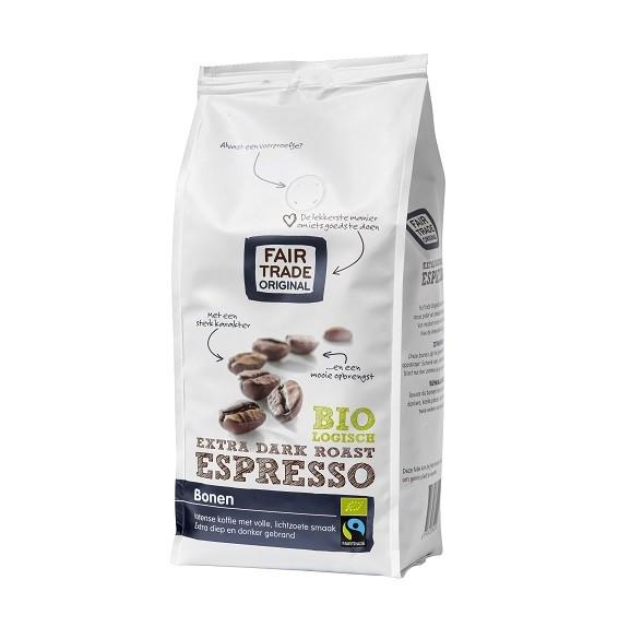 Koffiebonen espresso extra dark roast BIO 500gr. Fairtrade