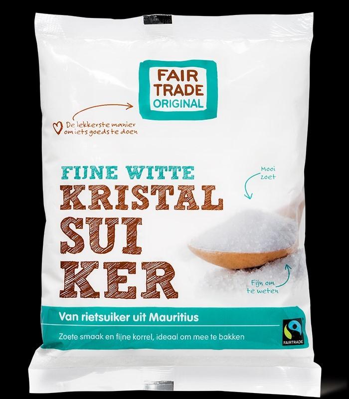 Suiker kristal Fijn wit (van rietsuiker) 500gr. Fairtrade