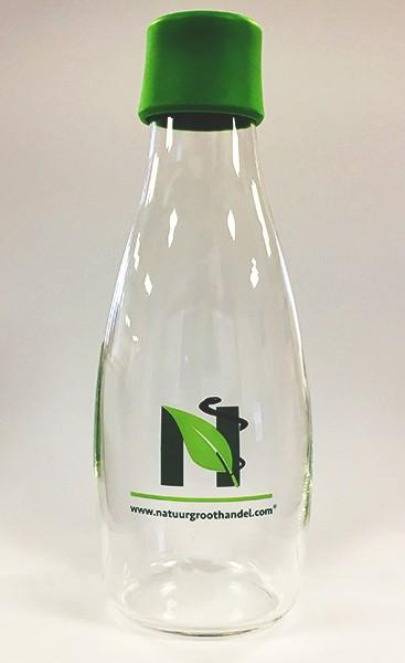 Waterfles met dop groen en logo natuurgroothandel 0.5ltr. Retap