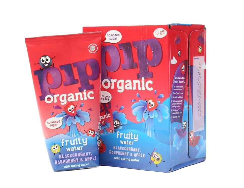 Fruitwater zwarte bes framboos BIO 4 x 200ml. Pip organic