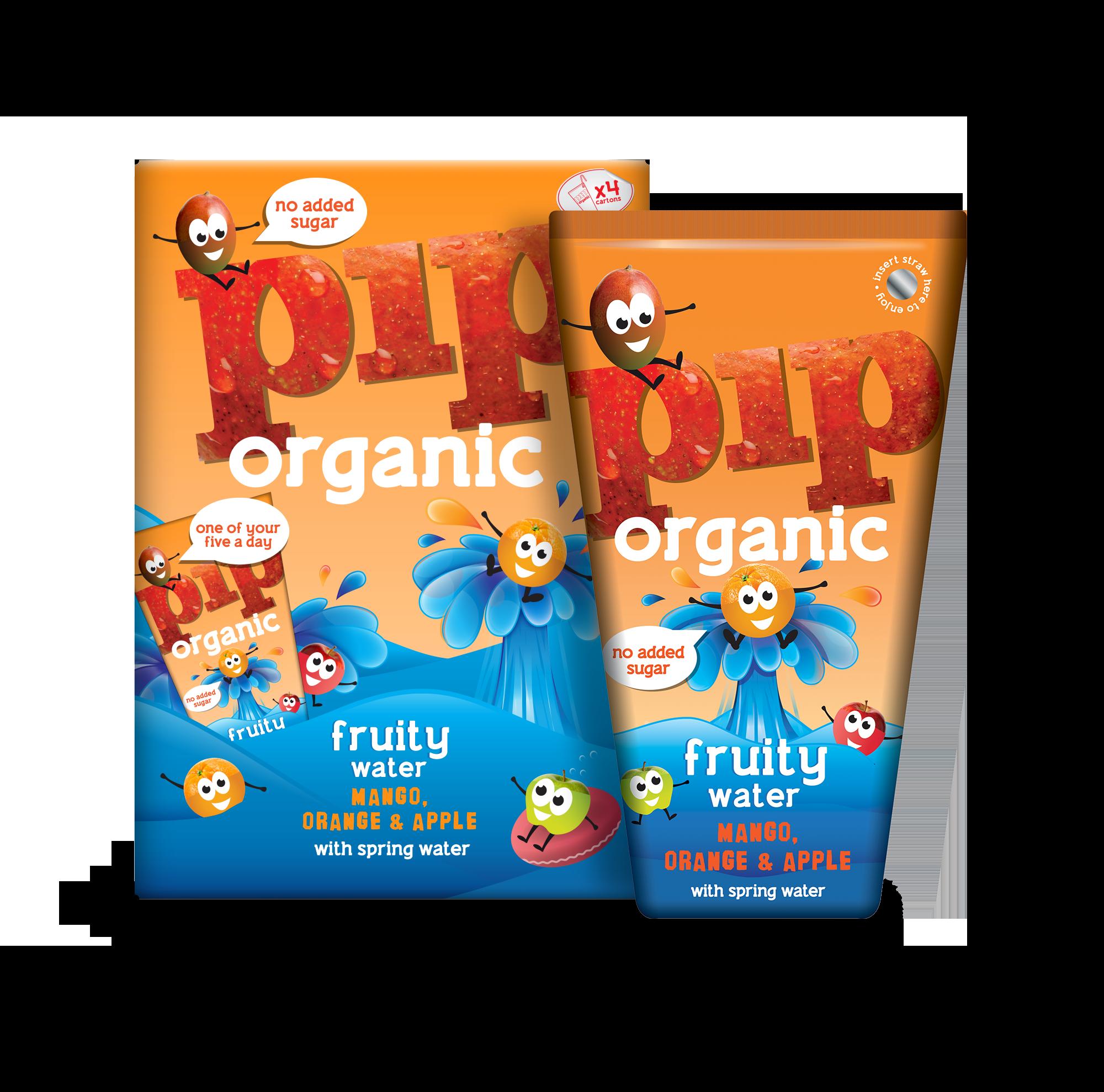 Fruitwater mango sinaasappel BIO 4 x 200ml. Pip Organic