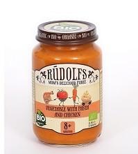 Groentehapje groente, pasta en kip 8+ maanden BIO 190gr. Rudolfs