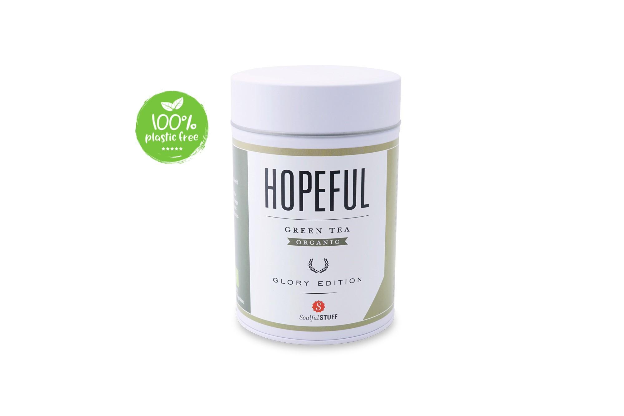 Hopeful Green Tea Organic Blik 100gr. Intertee bij webshop Natuurgroothandel
