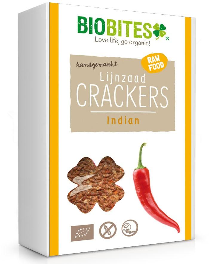 Crackers lijnzaad Indian BIO 4 stuks 60gr.  Biobites