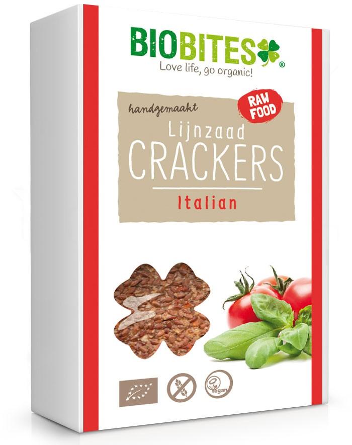 Crackers lijnzaad Italian 4 stuks BIO 65gr. Biobites