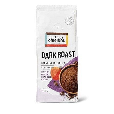 Koffie (gemalen snelfilter) Dark roast 250gr. Fairtrade