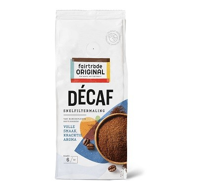 Koffie (gemalen snelfilter) Decaf 250gr. Fairtrade