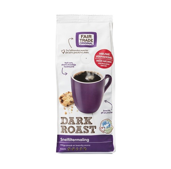Fairtrade koffie Dark Roast snf 250 gram