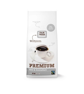 Koffie (gemalen snelfilter) premium zilver 1kg. Fairtrade