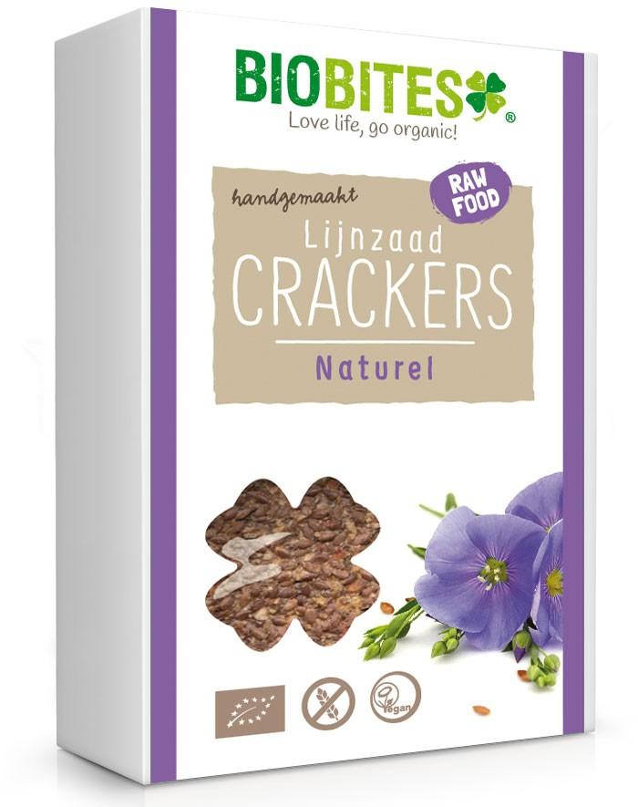 Crackers lijnzaad Naturel BIO 4 stuks 60gr. Biobites