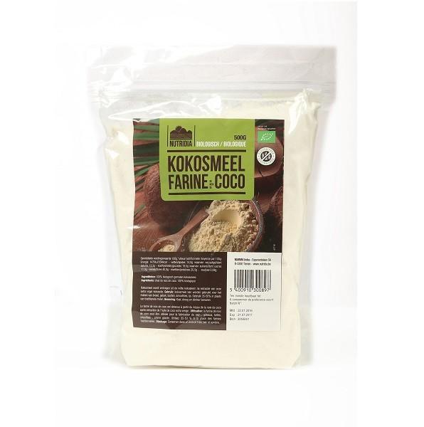 Kokosmeel glutenvrij BIO 500gr. Nutridia
